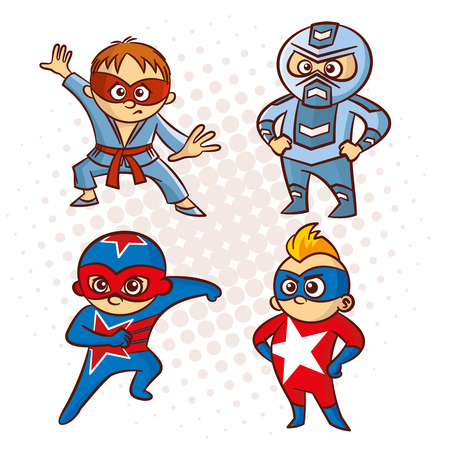 Cartoon Superhero Character Sticker Vector Illustration Illustration