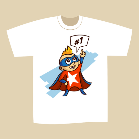 t shirt white: T-shirt Print Design Superhero Vector Illustration