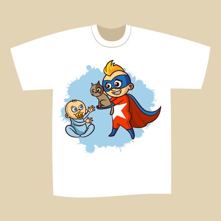 superheroes: T-shirt Print Design Superhero Vector Illustration