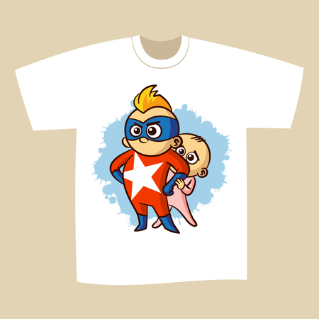 T-shirt Print Design Superhero Vector Illustration