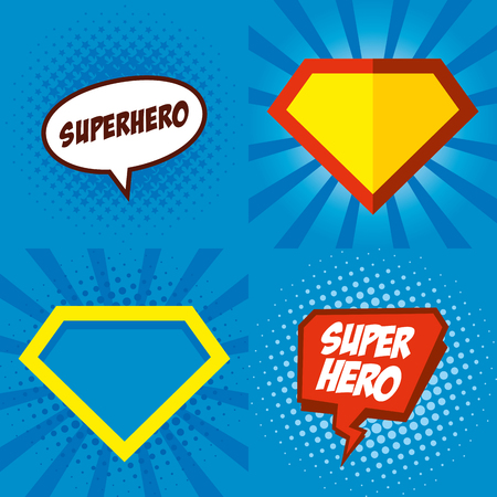 Superhero logo, pop art background design Vector