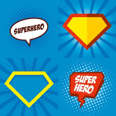 Superhero logo, pop art background design Vector