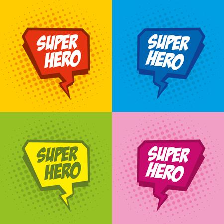 achievment: Superhero logo, pop art background design Vector