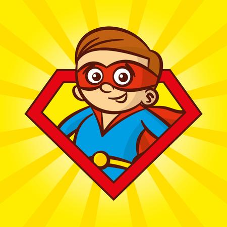 achievment: Superhero character man logo, pop art background Vector