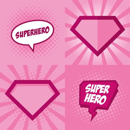 Superhéroe logotipo, diseño de fondo de arte pop Vector