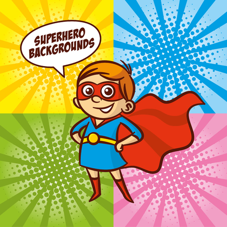 super man: Superhero cartoon character girl Color background Vector