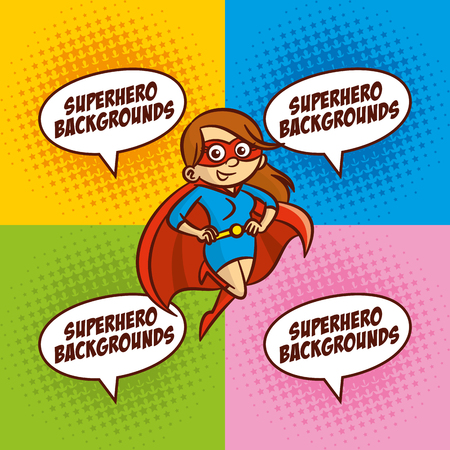 super man: Superhero cartoon character woman Color background Vector Illustration