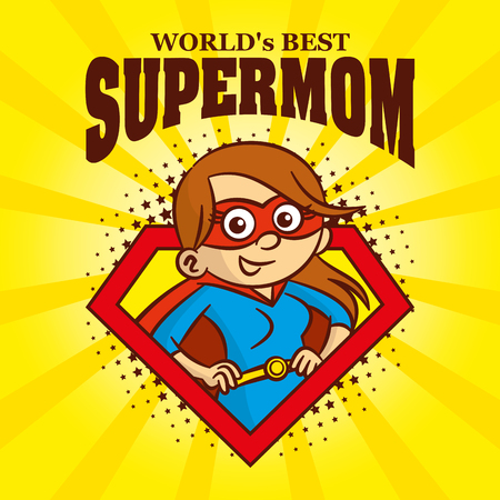 Supermom logo Cartoon character superhero