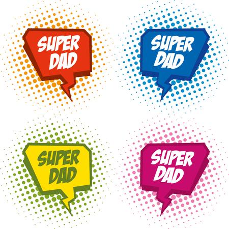 Superdad logo superhero Illustration