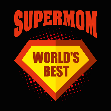 super woman: Supermom logo superhero Worlds best Illustration