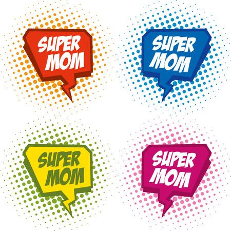 Supermom logo superhero