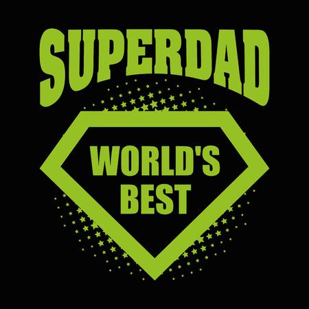 超级爸爸标志超级英雄世界上最好的矢量插图t恤