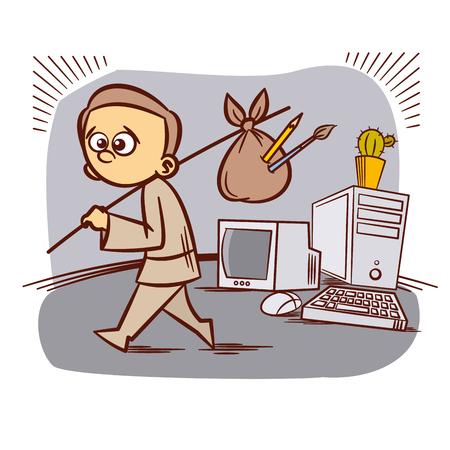 old pc: Graphic Designer Freelancer Cartoon Old Computer Vector illustration