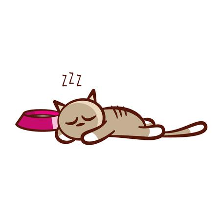 Sticker Cartoon Cute sleep cat isolated Vector illustration