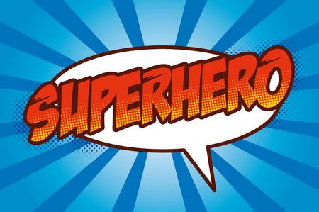 Superheld-Logo, Pop-Art-Hintergrund-Design Vektor