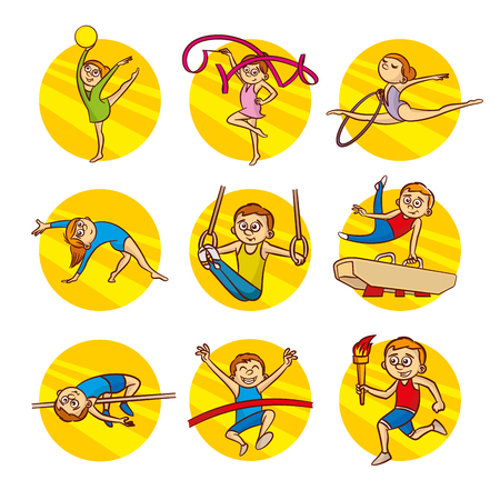 Cartoon kids Sport set Vector Clip Art Illustrations Illustration