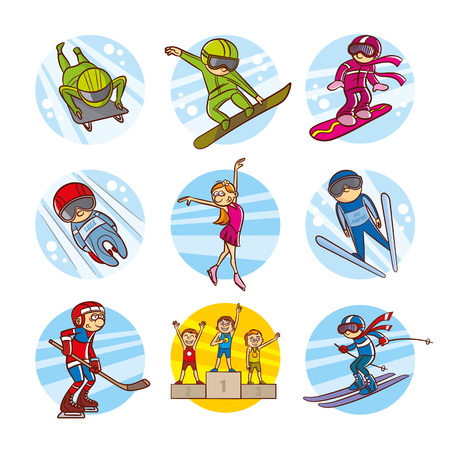 Cartoon kids Sport set Vector Clip Art Illustrations Иллюстрация