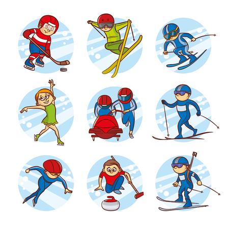 Cartoon kids Sport set Vector Clip Art Illustrations Stock Photo