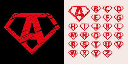 Super hero Logo Letters Supehero Vector Alphabet
