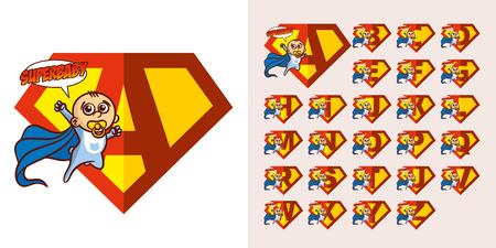 Super hero Logo Baby boy Letters Supehero Vector Alphabet