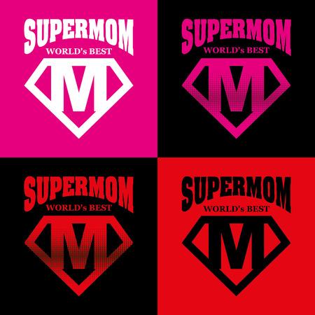 Super Mom hero Supehero Letters Mother day Vector