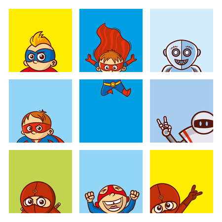simple girl: Super child stickers. Illustration