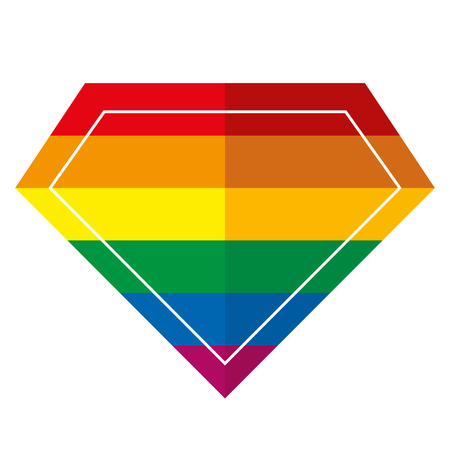 Rainbow colors in diamond shaped sign. Illustration