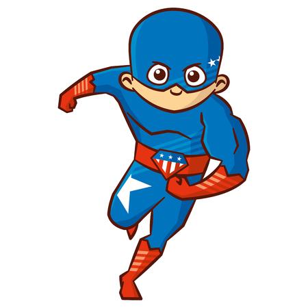 Superheld jongen stripfiguur Stock Illustratie