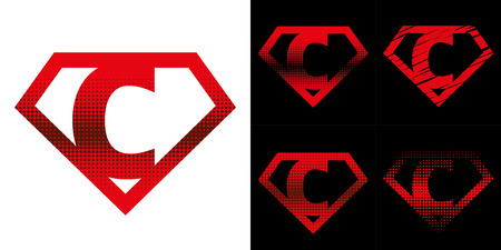 Super hero Logo Letter C Superhero Vector Alphabet  イラスト・ベクター素材