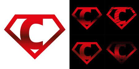 Super Hero Logo Lettera C Supereroe Vector Alphabet Archivio Fotografico - 90858788