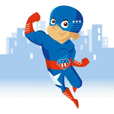 スーパーヒーロー少年漫画のキャラクター。  イラスト・ベクター素材