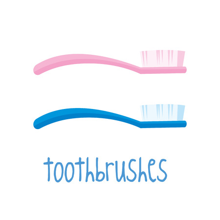 Pink and Blue Toothbrushes on white background Vector illustration