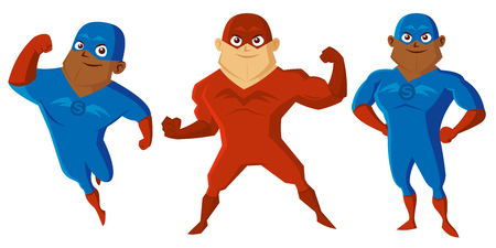 Superheroes Men Cartoon character Isolated Vector illustration.  イラスト・ベクター素材