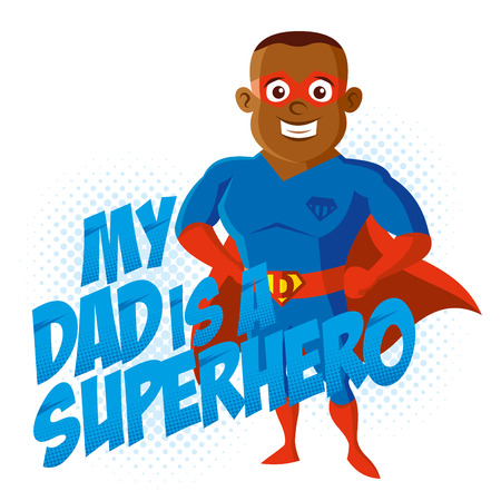 My dad is a Superhero Cartoon character t-shirt kids Vector