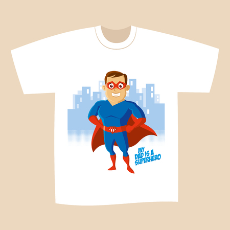 T-shirt design Superhero man Cartoon character Vector illustration  イラスト・ベクター素材