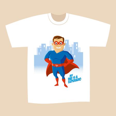 T-shirt design Superhero man Cartoon character Vector illustration  イラスト・ベクター素材