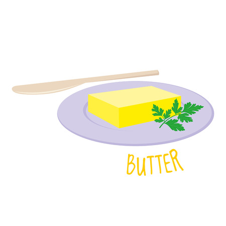 Butter in plate icon, isolated vector illustration.