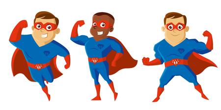 Superheroes Men Cartoon character Isolated Vector illustration