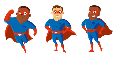 Superheroes Men Cartoon character Isolated Vector illustration. Illustration