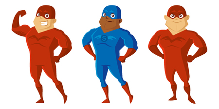 Superheroes Men Cartoon character Isolated Vector illustration