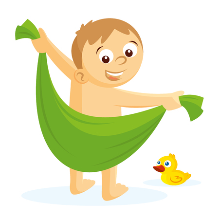 The boy is wiped off with a towel vector illustration on white background Stock Illustratie