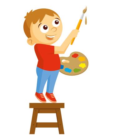 Artist boy vector illustration on white background Stock Photo