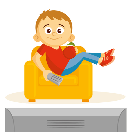 Boy is watching tv vector illustration isolated on white background.