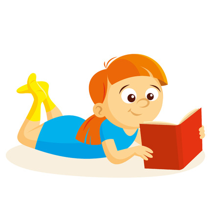 Little girl reading a book Vector illustration isolated on white background.