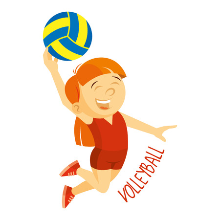 Kinds of sports. Athlete. Volleyball. Cartoon character. Vector illustration isolated on white background Illustration