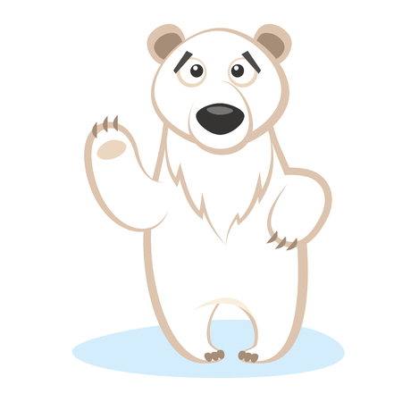 Wild animals. Polar Bear Wildlife Vector illustration isolated on white background