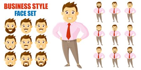 Businessman Face Set Cartoon character