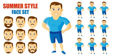Summer Style Man Face Set Cartoon character Ilustração