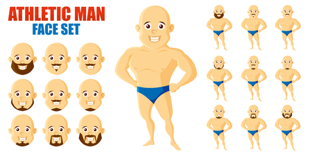 Athletic man Face Set Cartoon character Ilustração