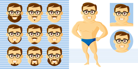 Athletic man Face Set Cartoon character Vector illustration isolated on white background